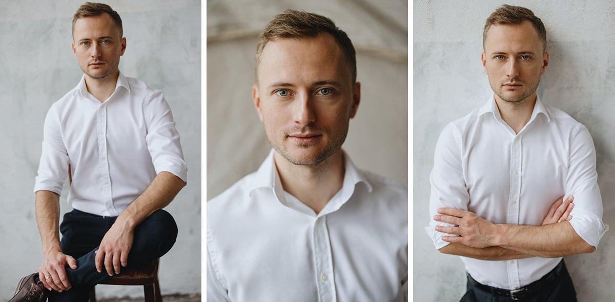 Fotografia biznesowa klasyczne portret w białej koszuli